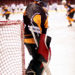 Hockey goalkeeper in generic black equipment — Stockfoto