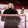 Hockey goalkeeper in generic black equipment — Stock Photo #10288738