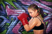 Girl with red boxing gloves — Foto Stock