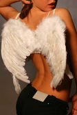 Sexy girl with white wings — Stock Photo