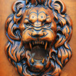 Wooden relief of lion — Stock Photo
