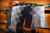 Gray woolly scarf — 图库照片