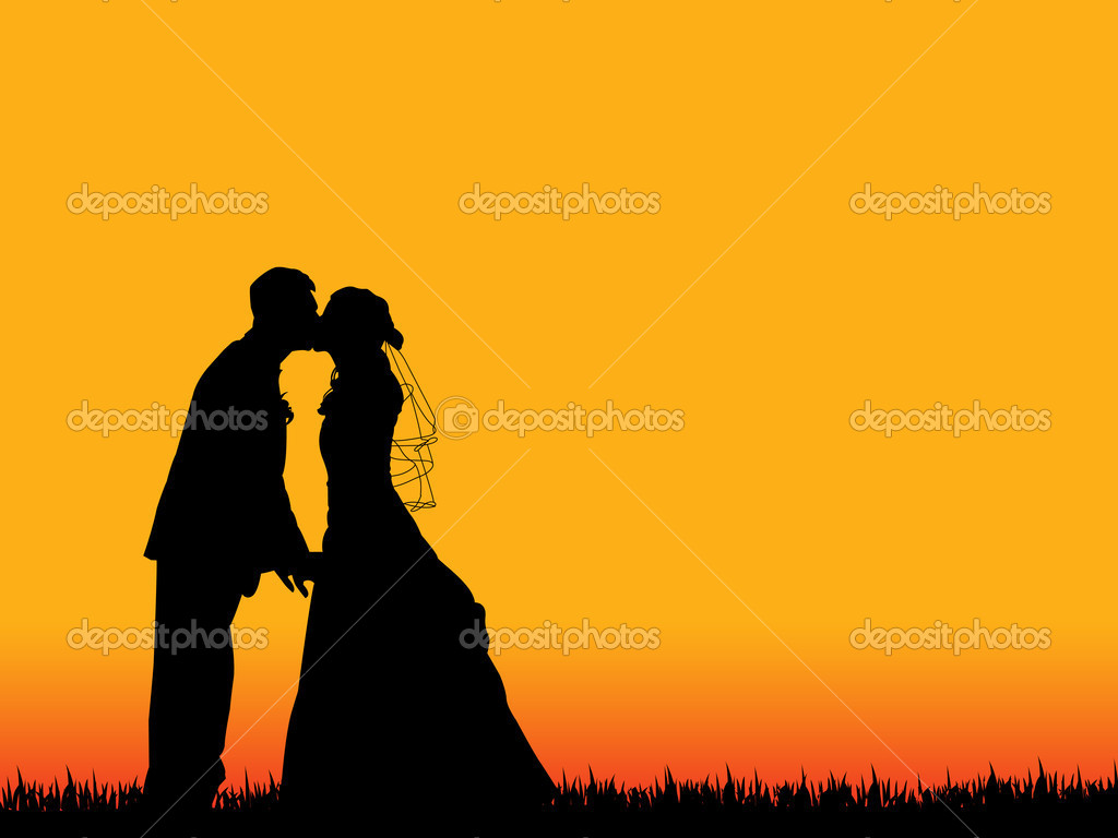 Bride and groom silhouette kissing in  beautiful orange-red sunset sky as background — Stock Vector #10154383