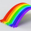 Stock Photo: Rainbow and splashes made from paint.