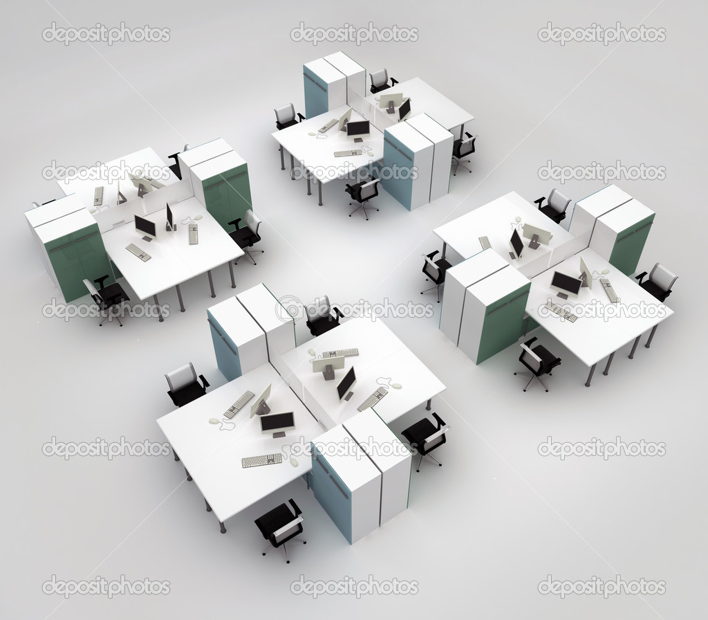 Open space office with systems office desks stock photo for Conception bureau open space
