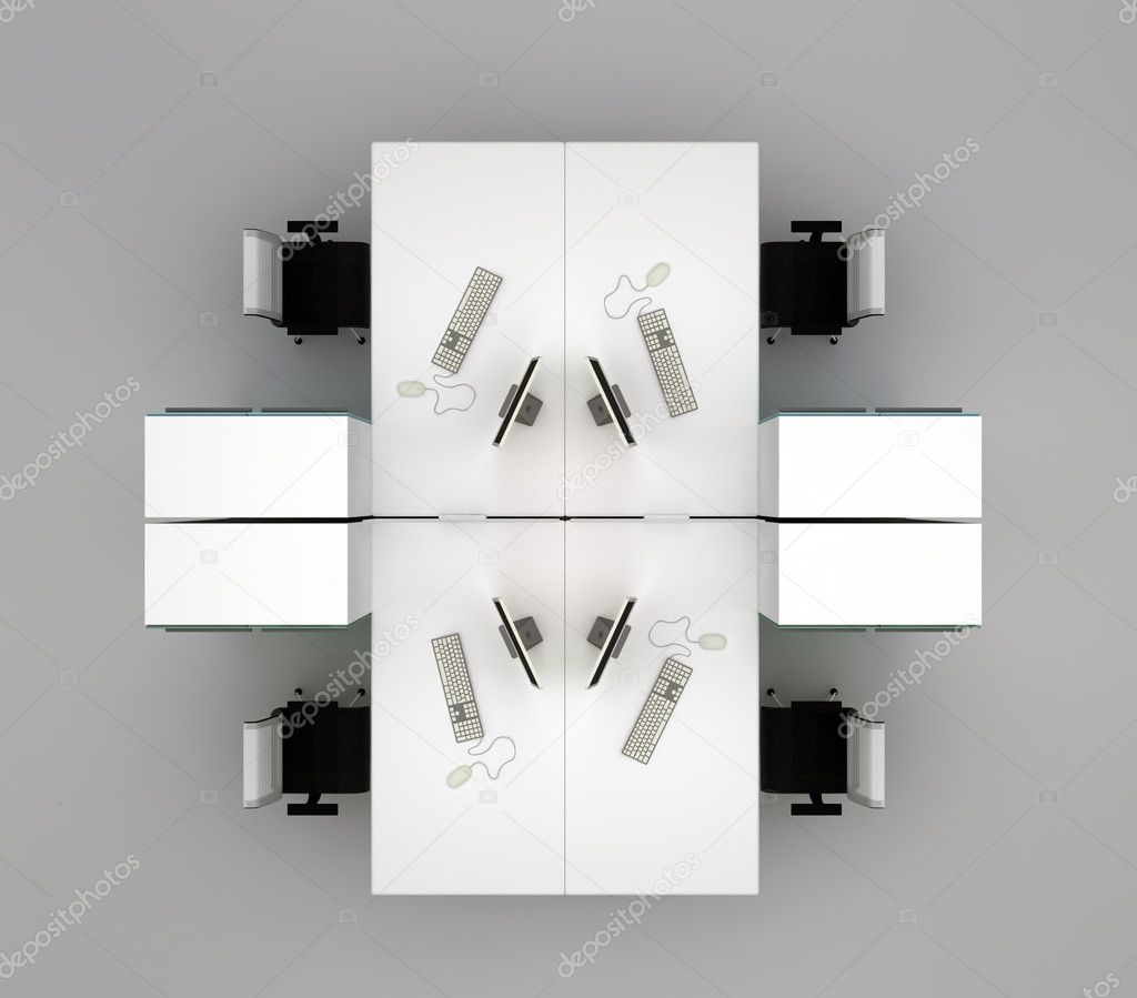 designer office desk isolated objects top view. designer office desk isolated objects top view system desks on gray background d
