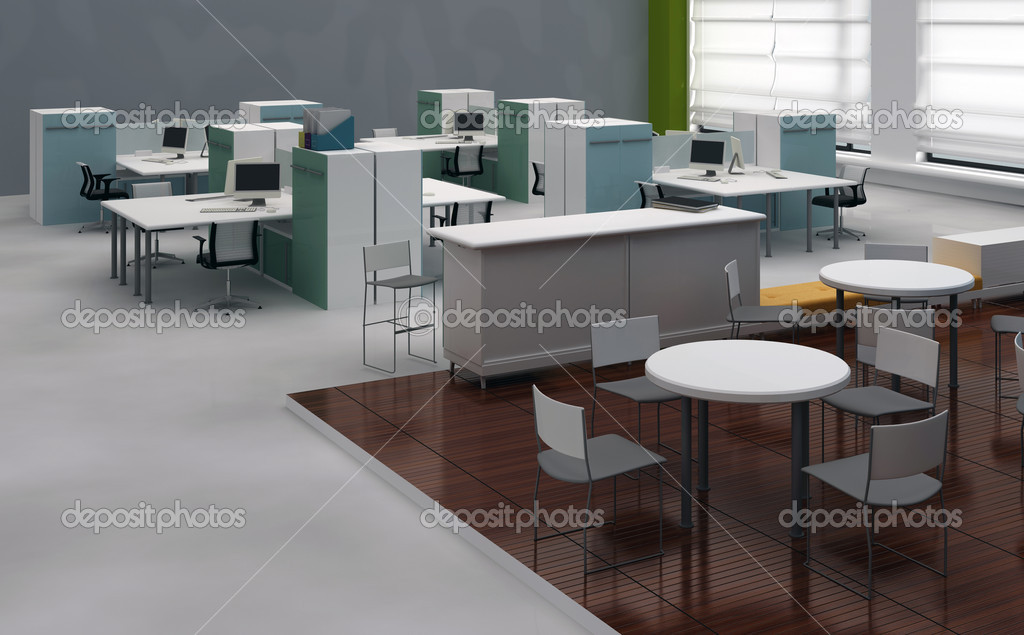 Interior open space office with system office desks and for Bureau open space dimension