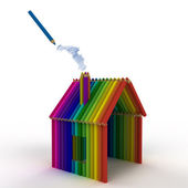 A logo of house of colored pencils for education — Stock Photo