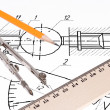Royalty-Free Stock Photo: Schematic rawing with compass, pencil and ruler.