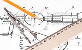 Schematic rawing with compass, pencil and ruler. — Stock Photo