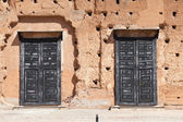 Black doors of Badi Palace, Marrakesh — Stock Photo