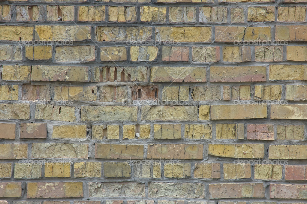 Background of the brickwork (walls) with traces of destruction — Stock Photo #10156429