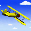 Biplane in flight — Stock Photo