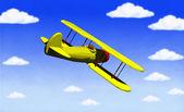 Biplane in flight — Stock fotografie