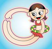 Pływać dziewczynka ilustracja — Wektor stockowy