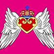 Royalty-Free Stock Immagine Vettoriale: Royal heart with crown and wing emblem
