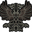 Heraldic luxury eagle beaded artwork — Stock Vector