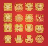 Oriental double happiness symbol — Stock Vector