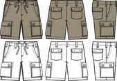 Men cargo shorts in different side view — Stock Vector