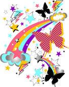 Butterfly and rainbow cartoon — Stock Vector