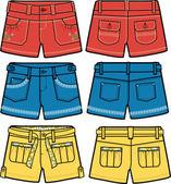 Pantalones cortos de moda dama — Vector de stock