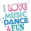Music Dance Fun — Stock Vector