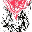 Artistic heart in ink splatter style — Stock Vector