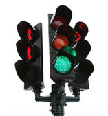 Traffic light isolated over white background — Stock Photo