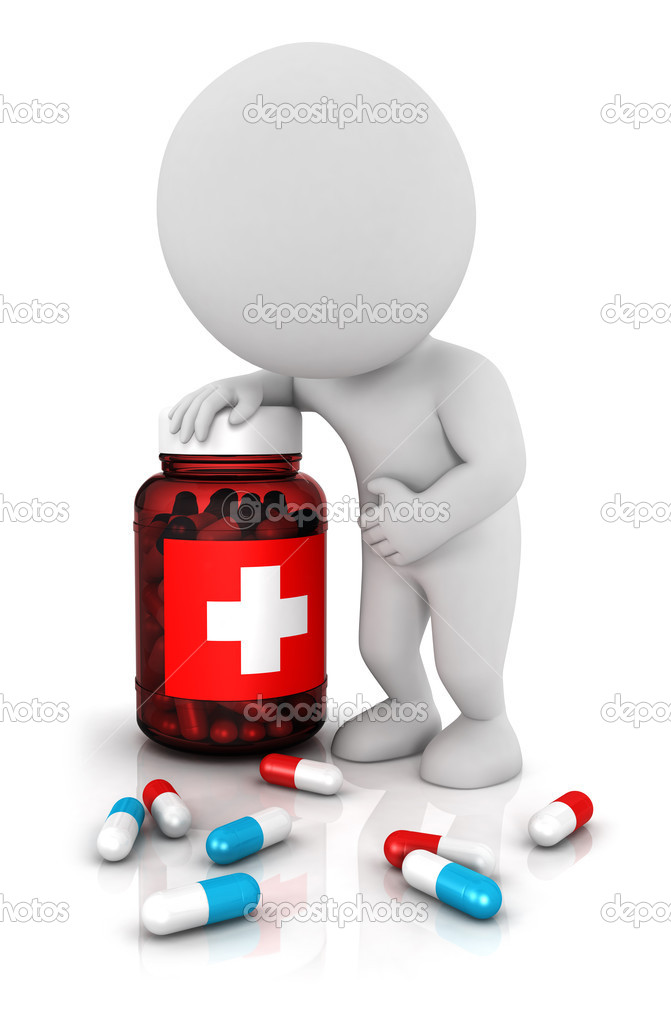 3d white needs medicines with blue and red pills, he leaned on a medecine bottle, isolated white background, 3d image — Stock Photo #10631319