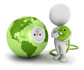 3d white connects plug inside green earth — Stock Photo
