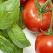 Basil&Tomatoes Close-up — Stock Photo