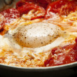 Fried egg with tomato - Stock Photo