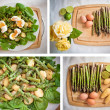 Collection: ingredients for an asparagus salad — Stock Photo