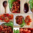 Composite: aubergines in tomato sauce with fresh tomatoes — Stock Photo