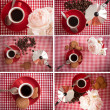 Coffee, biscuits and roses collection - Stock Photo