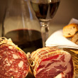 Royalty-Free Stock Photo: Salami and wine
