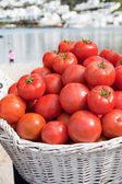 Tomatoes for sales on the beach — Stock Photo