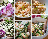 Courgettes and prawn salad — Stock Photo