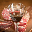 Stock Photo: Wine and salami
