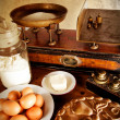 Vintage scales and ingredients — Stock Photo