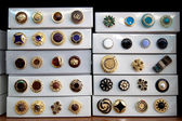 Boxes of vintage buttons — Stock Photo