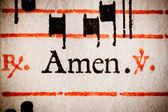 Amen from hymn sheet — Stock Photo