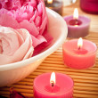 Aromatherapy flowers and candles - Stock Photo