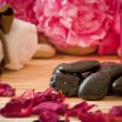 Stock Photo: Massage stones, flowers, candles, towels.