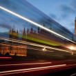 Stock Photo: Traffic on Westminster Bridge at night