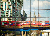 DLR train reflection — Stock Photo