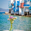 Table on the sea at Mykonos — Stock Photo