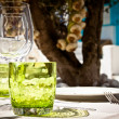 Table setting for al fresco dining - Stock Photo