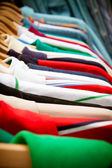 Shirt rack at market — Stock Photo
