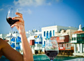 Celebrating by the sea — Stock Photo